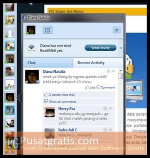 Fitur chat dan recent activities teman di sidebar sebelah kiri