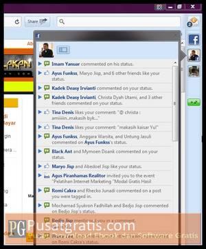 Sidebar kanan terhubung dengan twitter dan facebook