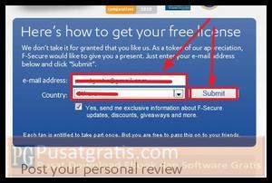 Isi form dan klik submit untuk mendapatkan 8000 Lisensi Original F-Secure Internet Security 2011