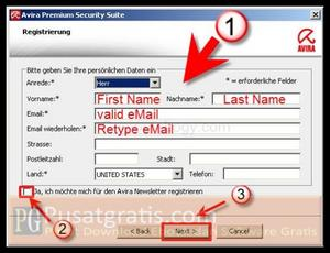 Fill forms and Click Next to get Avira Premium Security 10 license
