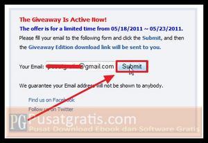 Masukkan alamat email anda dan klik Submit