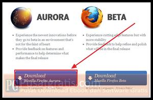 "Klik tombol ""Download Mozilla Firefox Aurora"""
