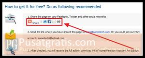Share halaman giveaway dari Aomei Partition Assistant Professional Edition 3.0