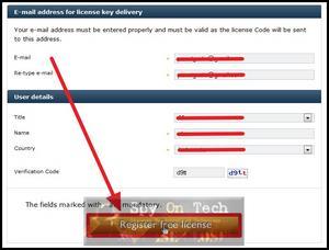 """Isikan data lengkap anda dan klik tombol """"Register Free License"""""""