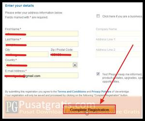"""Isi form registrasi dengan data diri anda dan klik tombol """"Complete Registration"""""""