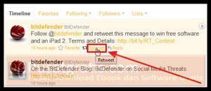 Retweet pesan tersebut untuk mendapatkan 20 Lisensi Original BitDefender Internet Security