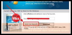 """Isi form yang disediakan dengan data email valid anda dan klik tombol """"Send Me Keycode"""""""