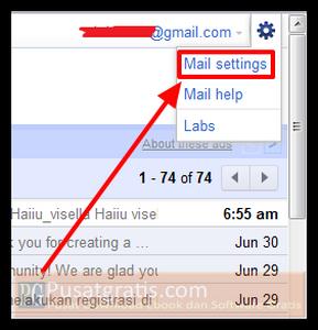 "Klik logo setting yang ada di pojok kanan atas dan pilih menu ""Mail Settings"""