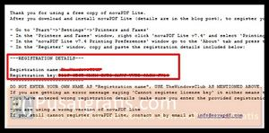 detail registrasi dari NovaPDF Lite 7.4