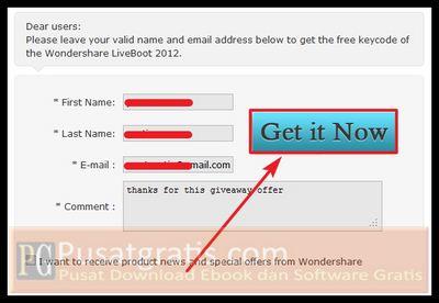 Isi form yang diperlukan dan klik Get it Now