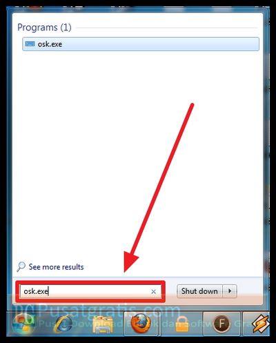 Akses menu Start dan ketikkan osk.exe
