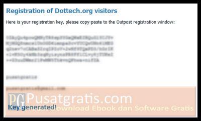 Sebuah halaman berisi lisensi Outpost Security Suite Pro 7.5 akan terbuka
