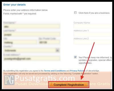 "klik tombol ""Complete Registration"""