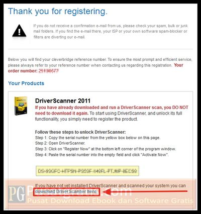 link download dan lisensi dari Uniblue DriverScanner 2011
