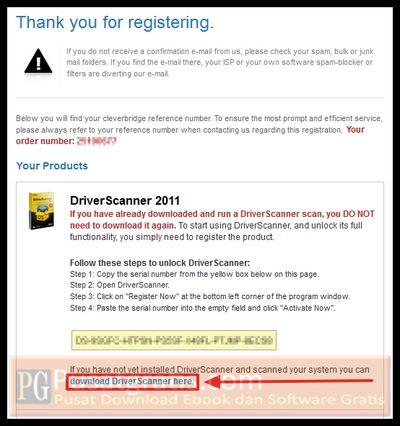 link download dan lisensi dari Uniblue DriverScanner 2011