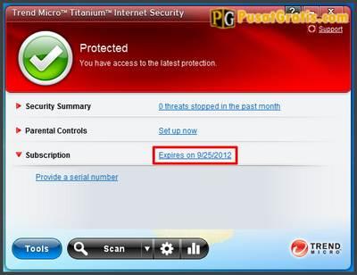Selamat, anda sudah memiliki Trend Micro Titanium Internet Security 2011 secara gratis dan legal