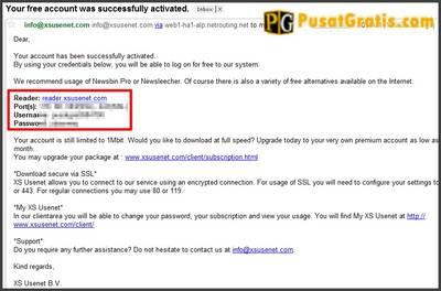 detail dari akun xsusenet anda ada di email anda