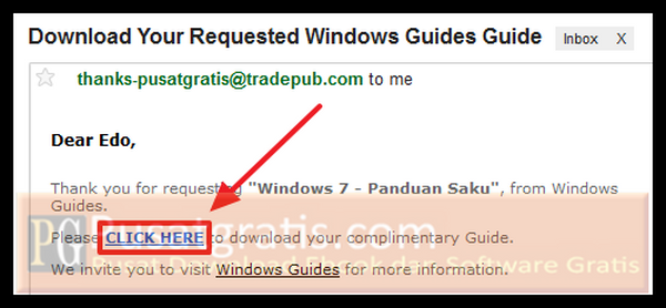 "Klik link ""CLICK HERE"" untuk mendownload Panduan Windows 7"