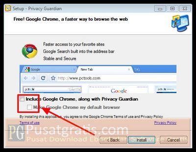 hilangkan centang instalasi Google Chrome