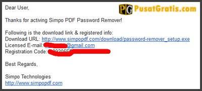 Login ke email anda, link download dan lisensi PDF Password Remover anda ada di email tersebut.