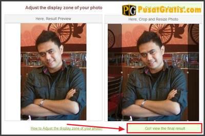 Ubah ukuran dan posisi foto sesuai dengan keinginan anda. Klik Go! vew the final result