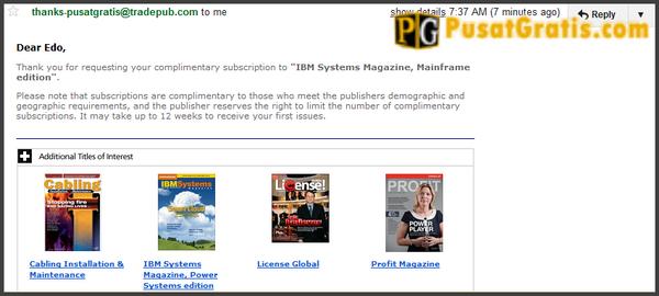 Majalah gratis dari IBM ini akan dikirimkan ke rumah anda secara gratis dalam waktu kurang lebih 3 bulan