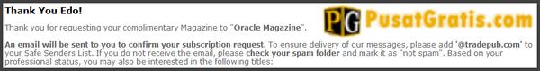 Request berlangganan Majalah Oracle anda telah berhasil