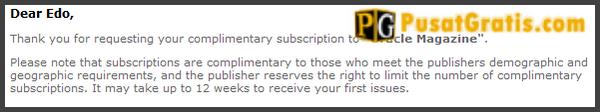 Email pemberitahuan bahwa request majalah Oracle anda telah berhasil