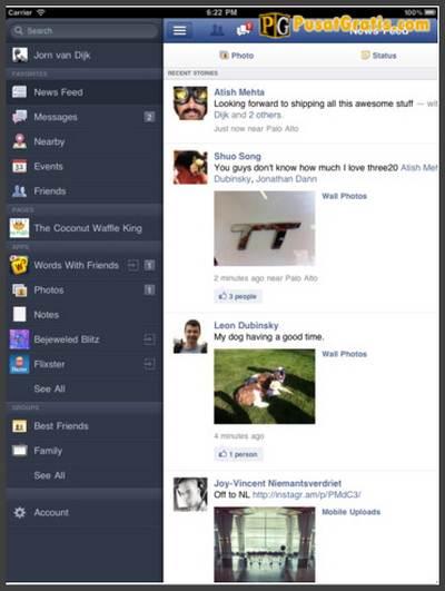 Aplikasi Facebook untuk iPad
