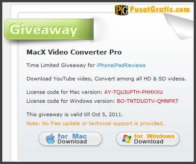 MacX Video Converter Pro Digratiskan Lagi Hingga 5 Oktober 2011