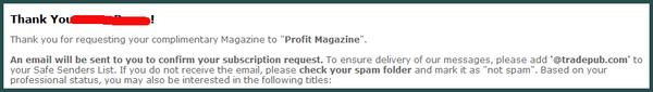 Jika halaman Thanks sudah muncul, maka anda sudah terdaftar untuk request Profit Magazine secara gratis