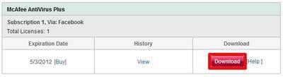 Anda sudah bisa mendownload McAfee Antivirus Plus 2012 dengan lisensi 6 bulan secara gratis dan legal