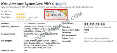 Download IObit Advanced SystemCare PRO 4