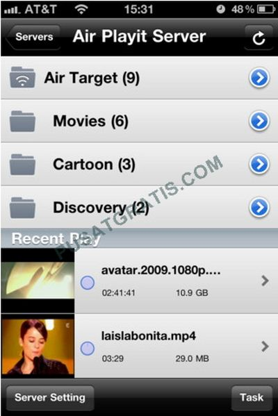 Air Playit versi iPhone