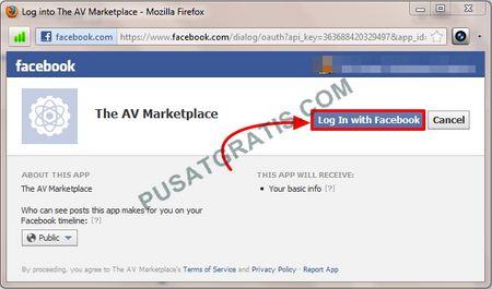 Ketika muncul popup, klik saja Login With Facebook