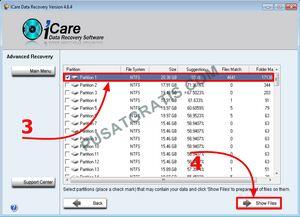 pilih partisi dengan File Match terbanyak. kemudian klik Show Files