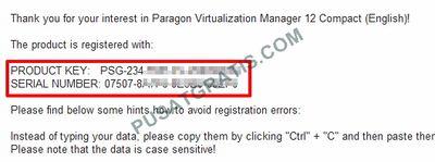 Lisensi Paragon Virtualization Manager Compact akan dikirmkan ke email anda