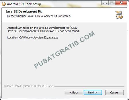 Langkah kedua proses instalasi Android SDK
