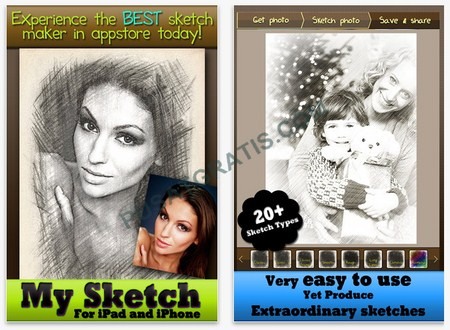 My Sketch : Aplikasi untuk Membuat Sketsa Foto di iPhone, iPad atau iPod Touch