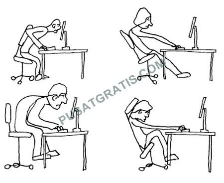 Posisi Duduk yang Salah Ketika Menggunakan Komputer