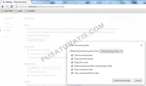 Cara menghapus semua data browsing
