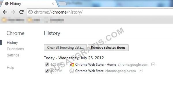 Cara menghapus data browser tertentu