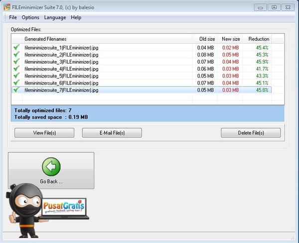 FILEminimizer Suite 7 Berhasil Mengecilkan File