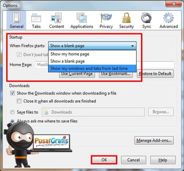 Setting untuk Firefox