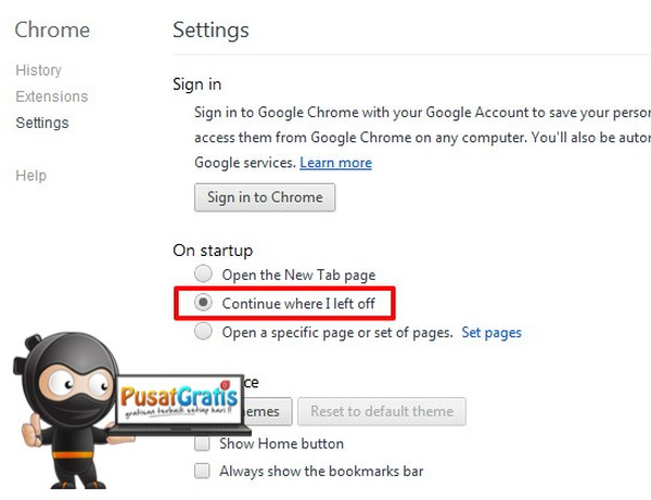 Setting untuk Google Chrome