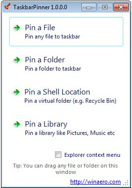 Pin File, Folder, Shell Location di Taskbar Menggunakan Pinner Taskbar