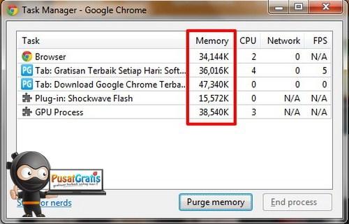 Cara Memunculkan Menu Rahasia - Purge Memory - di Google Chrome
