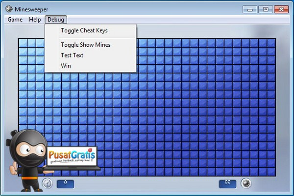 Game Minesweeper Sesudah di Tweak