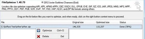Korupsi Ukuran File Menggunakan File Optimizer