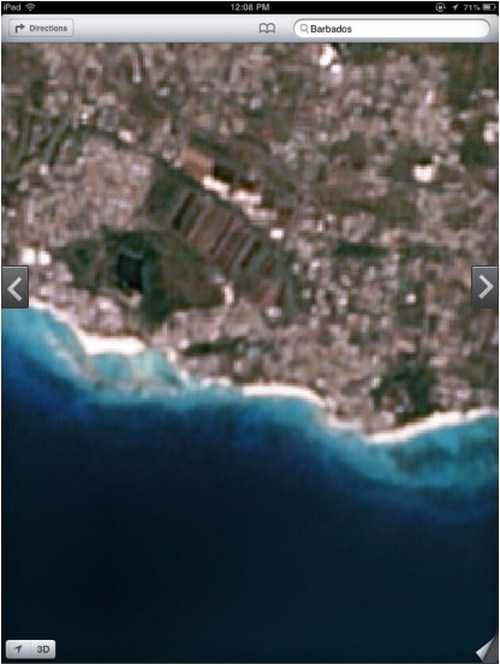 Pantai Barbados yang indah, malah ditampilkan dalam resolusi rendah.